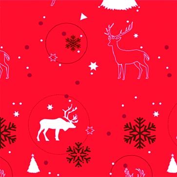 Noel tendance Biches et cerfs Fd rouge